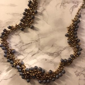 // anthropologie gray beaded gold necklace //